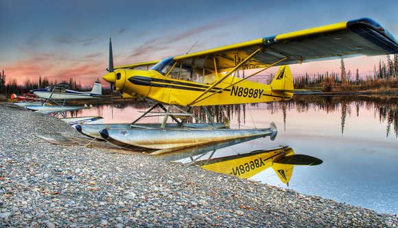 Yellow Super Cub on Floats