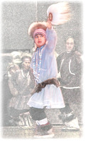 Young native fan dancer