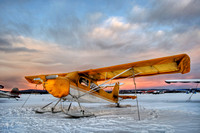 Yellow Taildragger on Skiis