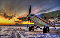 Super Cub on a Snowy Sunset